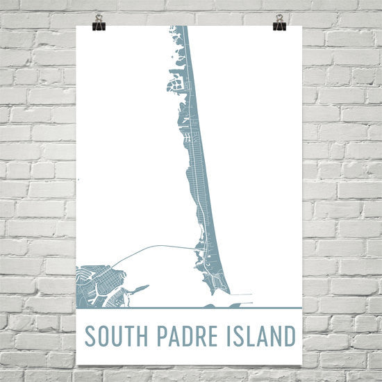 South Padre Island Street Map Poster White