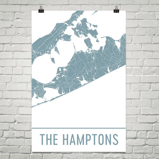 The Hamptons NY Street Map Poster White