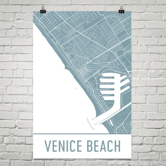 Venice Beach CA Street Map Poster White