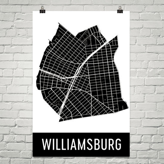 Williamsburg NY Street Map Poster White