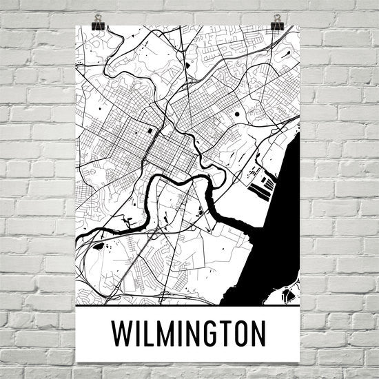 Wilmington DE Street Map Poster White