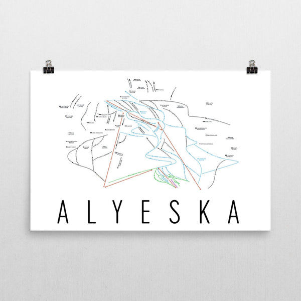 Alyeska Ski Map Art, Trail Map, Print, Poster From $39.99 - ModernMapArt - Modern Map Art