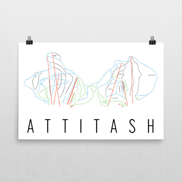 Attitash Ski Map Art, Trail Map, Print, Poster From $39.99 - ModernMapArt - Modern Map Art