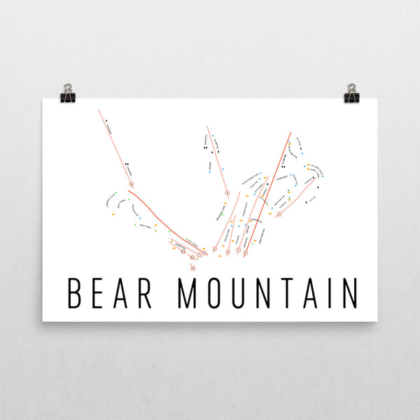 Bear Mountain Ski Trail Map Poster 12x18