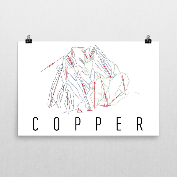 Copper Mountain Ski Trail Map Poster 12x18