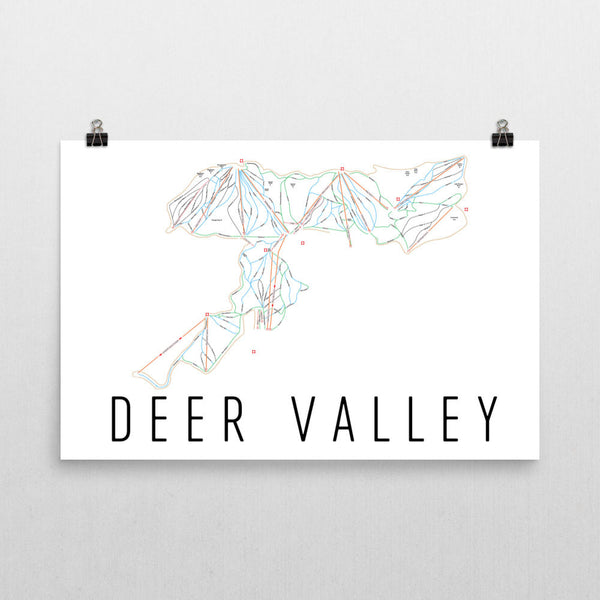 Deer Valley Ski Trail Map Poster 12x18