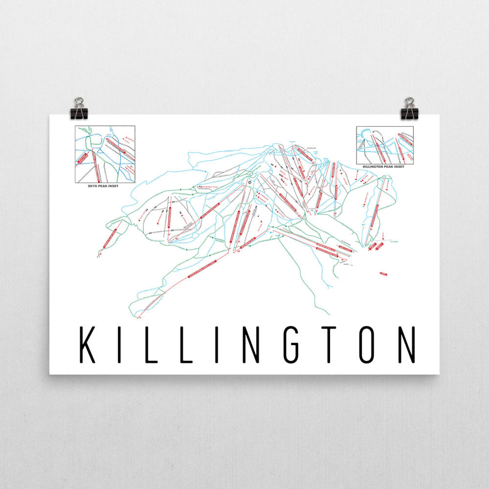 Killington Resort Ski Trail Map Poster 12x18