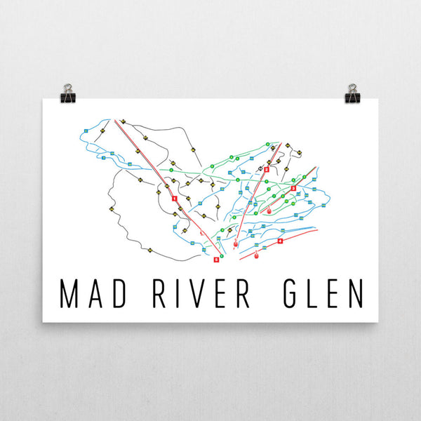 Mad River Glen Ski Trail Map Poster 12x18