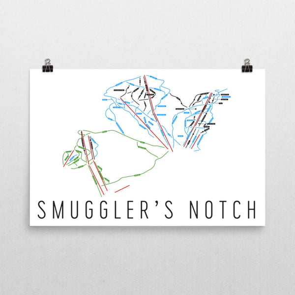 Smuggler's Notch Ski Trail Map Poster 12x18