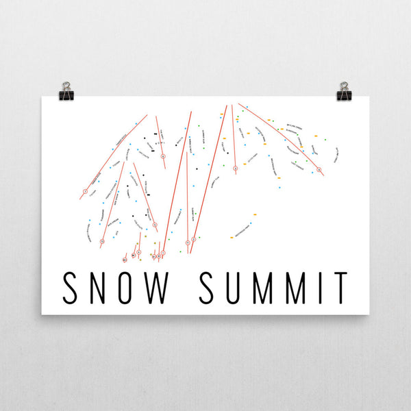 Snow Summit Ski Trail Map Poster 12x18