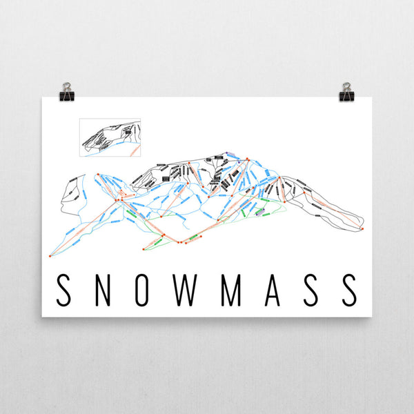 Snowmass Ski Trail Map Poster 12x18
