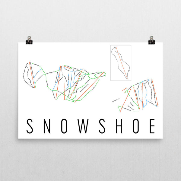 Snowshoe Mountain Ski Trail Map Poster 12x18