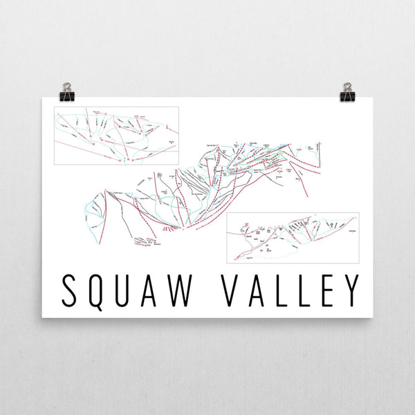 Squaw Valley Ski Trail Map Poster 12x18