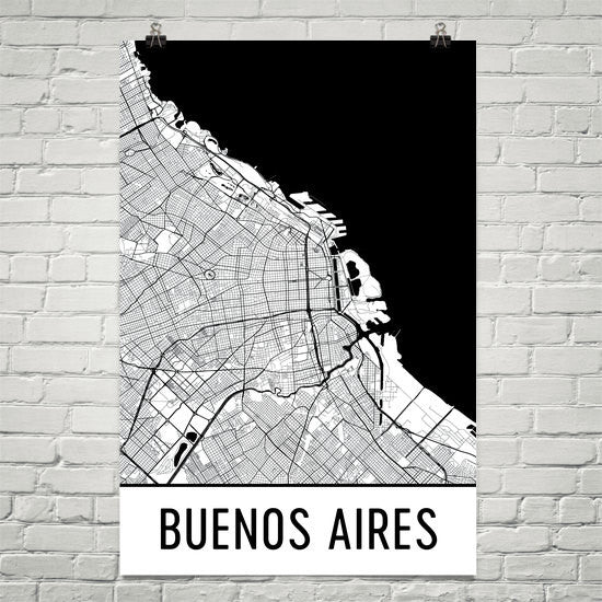 Buenos Aires Street Map Poster White