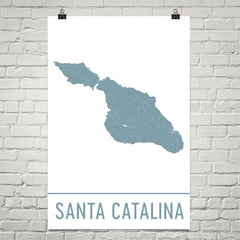 Catalina Island CA Street Map Poster Black