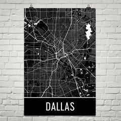 Dallas TX Street Map Poster Black