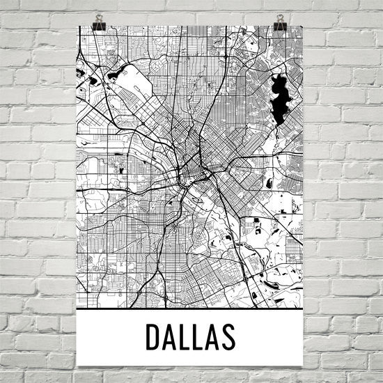 Dallas TX Street Map Poster White