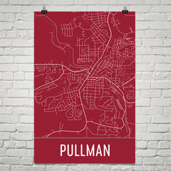 Pullman WA Street Map Poster Red
