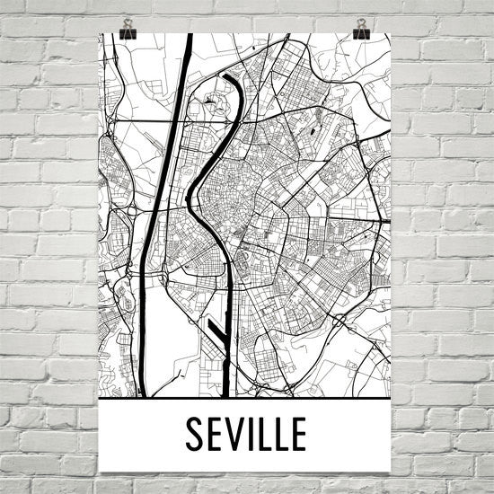 Seville Spain Street Map Poster White