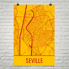 Seville Spain Street Map Poster Yellow