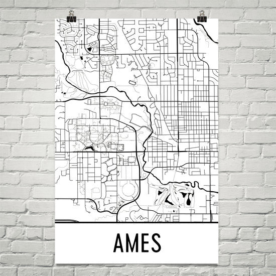Ames IA Street Map Poster White