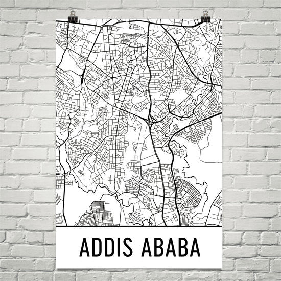 Addis Ababa Ethiopia Street Map Poster - Wall Print by Modern Map Art