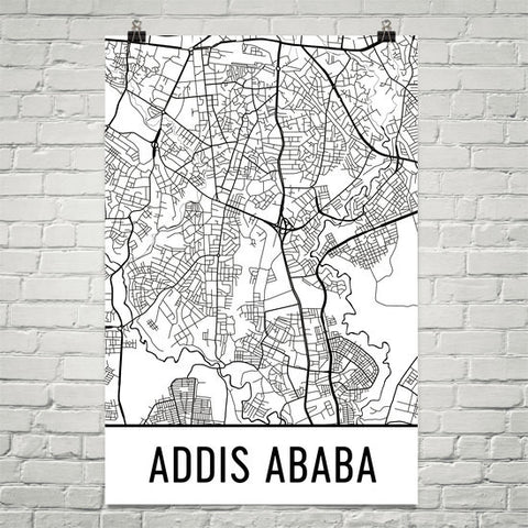 Addis Ababa Ethiopia Street Map Poster Wall Print by Modern Map Art
