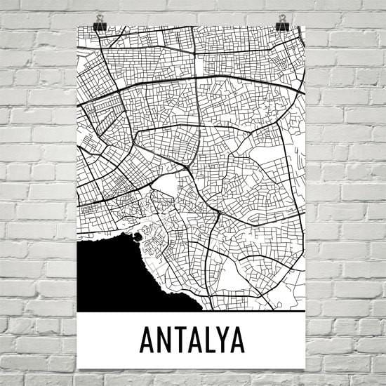 Antalya Turkey Street Map Poster White
