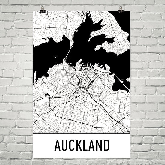 Auckland Street Map Poster White
