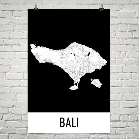 Bali Indonesia Map, Art, PrinModernMapArt - Modern Map Art