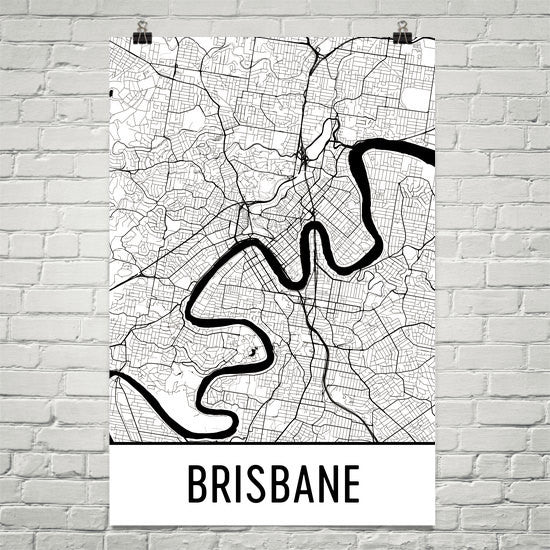 Brisbane Street Map Poster White