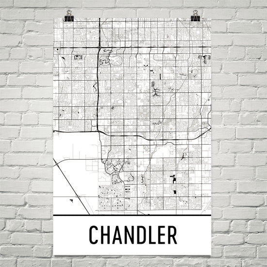 Chandler AZ Street Map Poster White