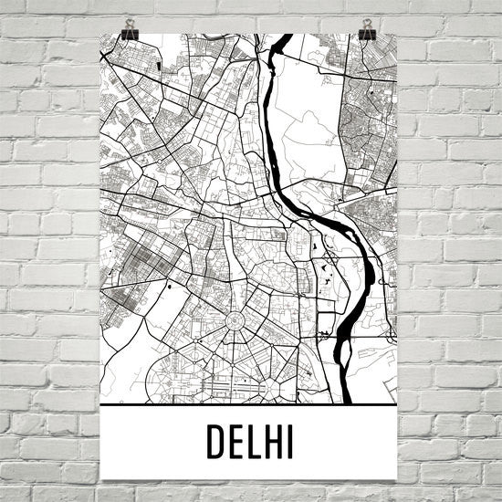 Delhi India Street Map Poster White