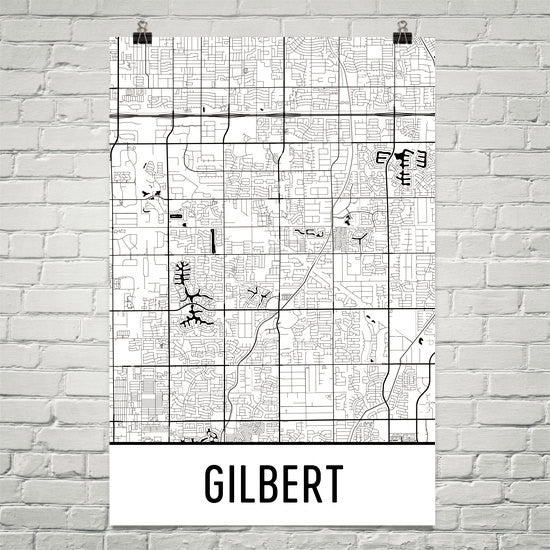 Gilbert AZ Street Map Poster White