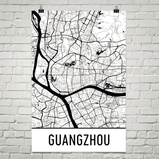 Guangzhou China Street Map Poster White