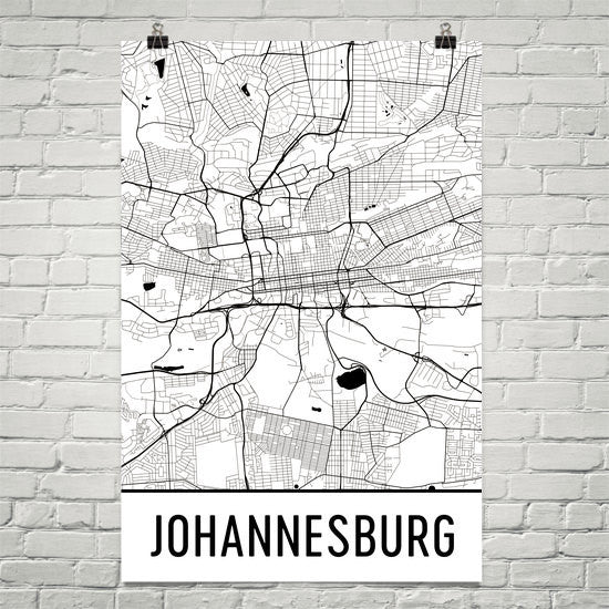 Johannesburg South Africa Map, Art, Print, Poster, Wall Art From $19.99 - Modern Map Art