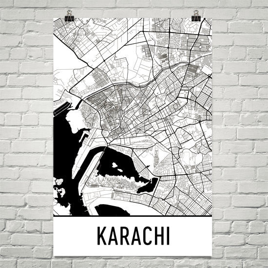 Karachi Pakistan Street Map Poster White