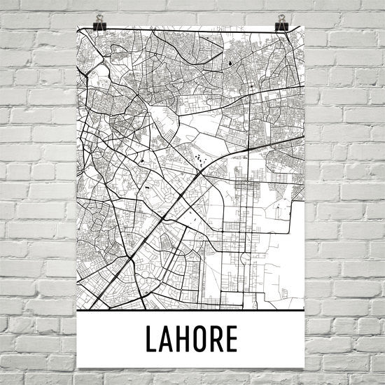 Lahore Pakistan Street Map Poster White