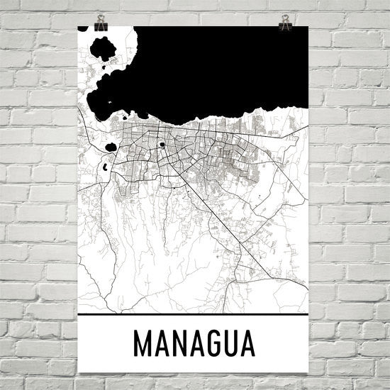 Managua Nicaragua Street Map Poster White