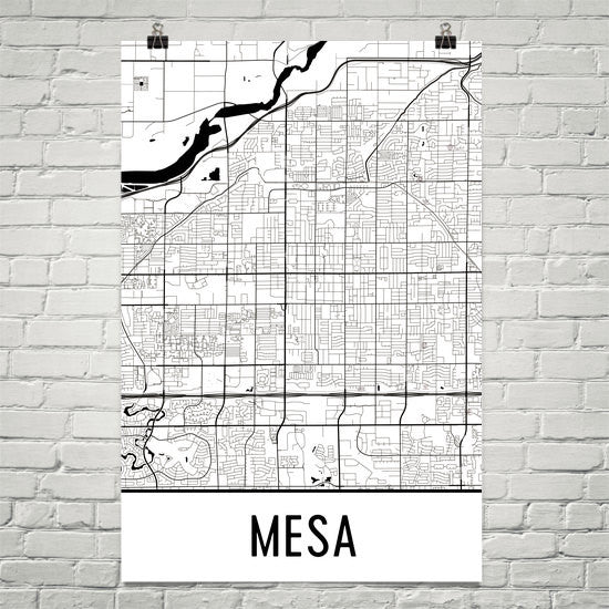 Mesa Arizona Street Map Poster White