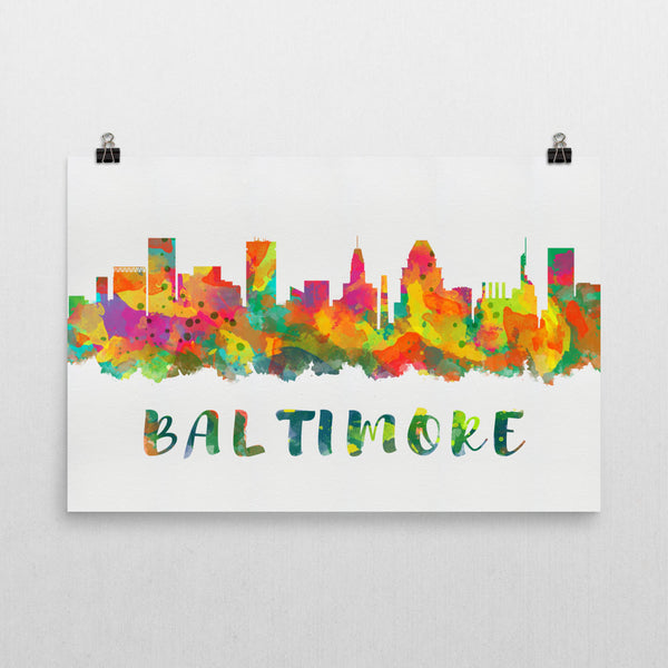 Baltimore Skyline, Canvas, Art, Watercolor Skyline From $29.99 - Modern Map Art - Modern Map Art