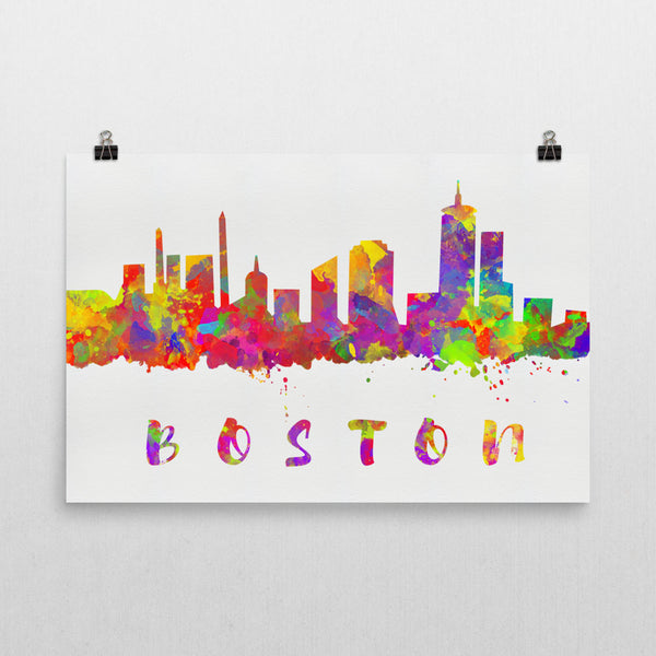 Boston Skyline, Canvas, Art, Watercolor Skyline From $29.99 - Modern Map Art - Modern Map Art