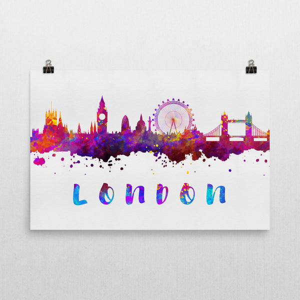 London Skyline, Canvas, Art, Watercolor Skyline From $29.99 - Modern Map Art - Modern Map Art