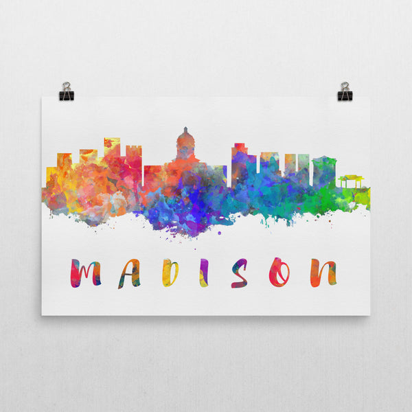 Madison Skyline, Canvas, Art, Watercolor Skyline From $29.99 - Modern Map Art - Modern Map Art
