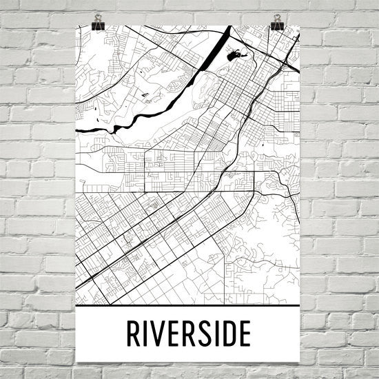 Riverside CA Street Map Poster White