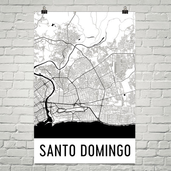Santo Domingo Dominican Republic Street Map Poster White