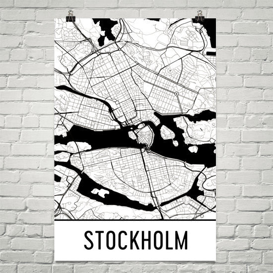 Stockholm Sweden Street Map Poster White