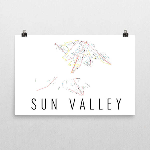 Sun Valley Ski Trail Map Poster 12x18