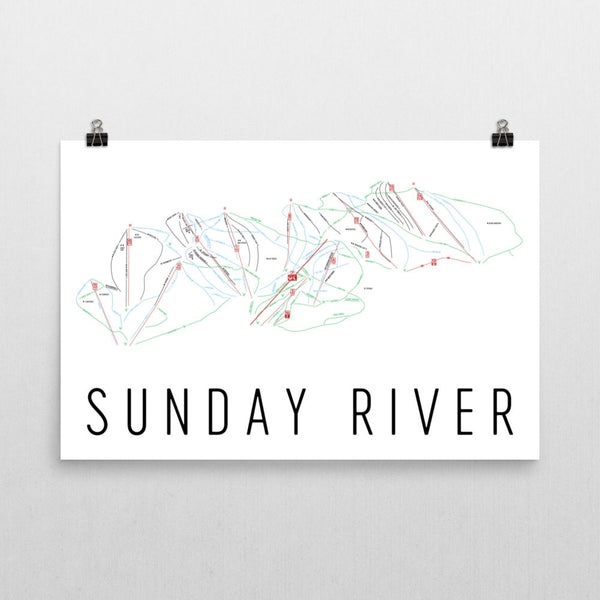 Sunday River Ski Trail Map Poster 12x18