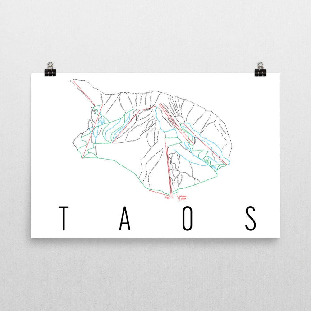 Taos Ski Trail Map Poster 12x18